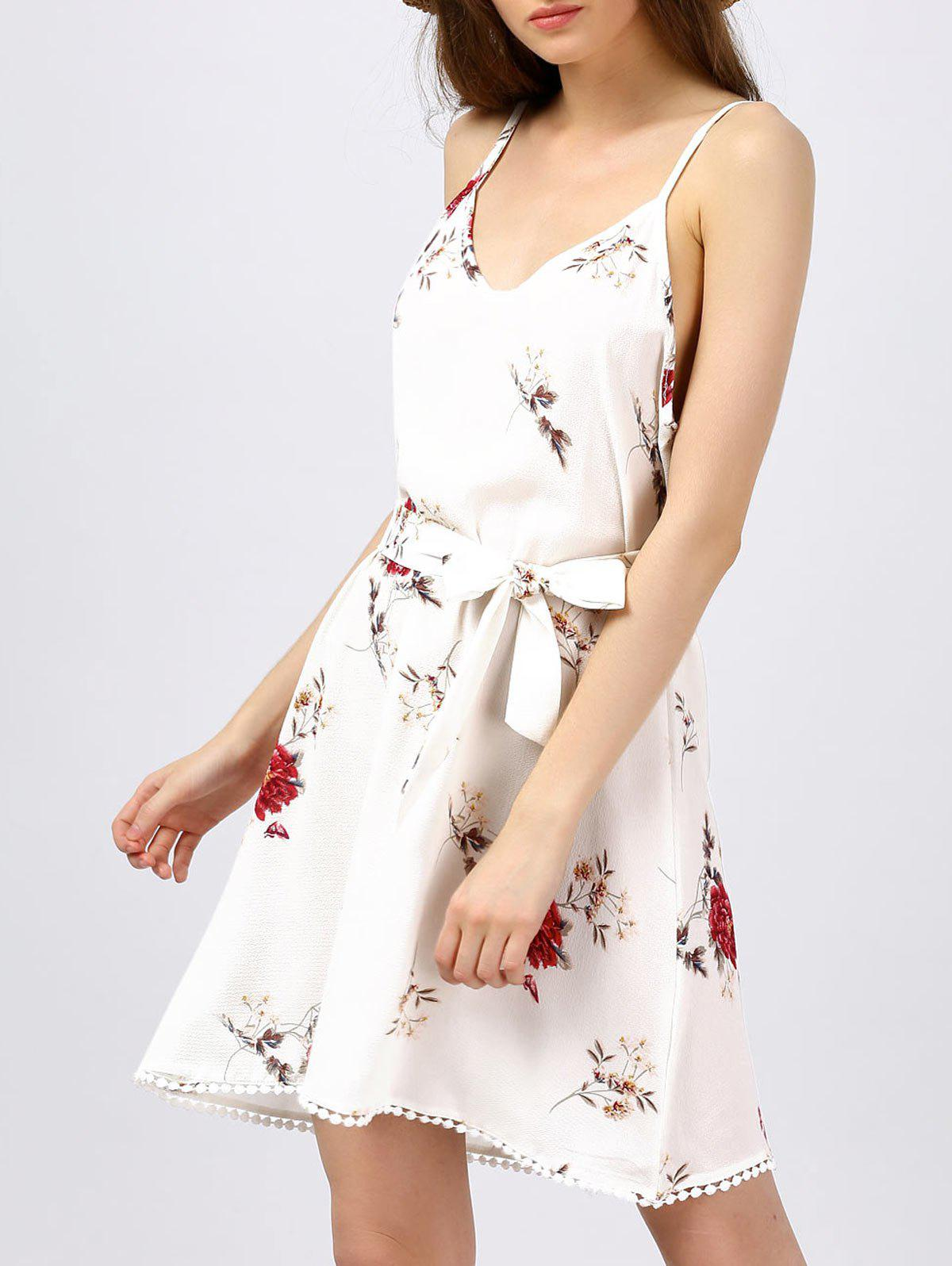 Floral Print Cami Dress - WHITE XL