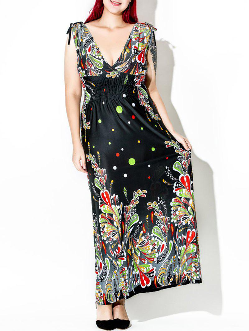 Floor Length Plus Size Print Dress - multicolor XL