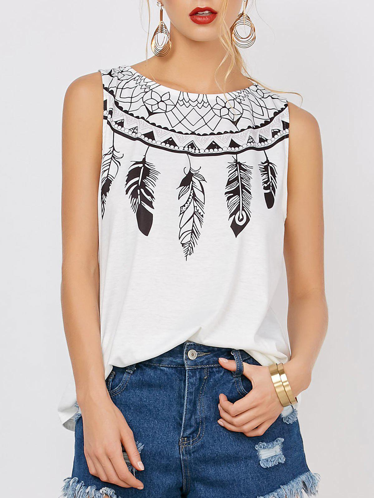 Feather Print Sleeveless Tee - WHITE S