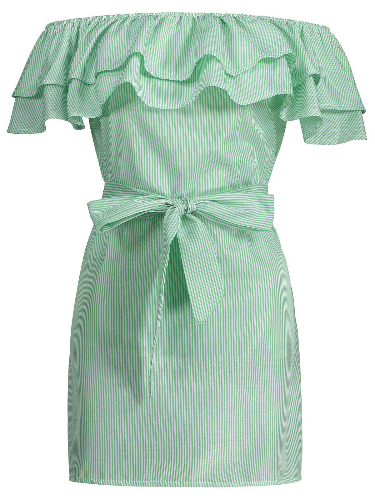 Off The Shoulder Striped Flounce Belted Dress - LIGHT GREEN M
