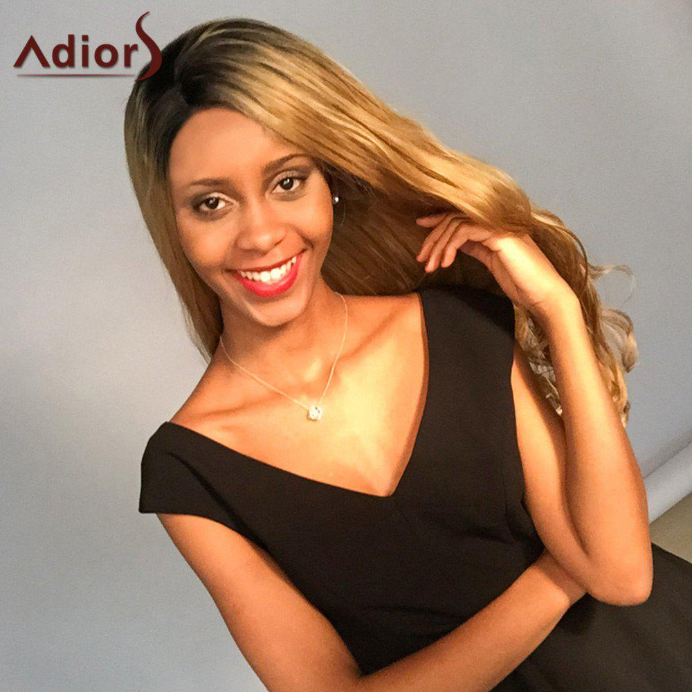 Adior Long Wavy Side Bang Colormix Lace Front Synthetic Wig - BLACK/GOLDEN 24INCH