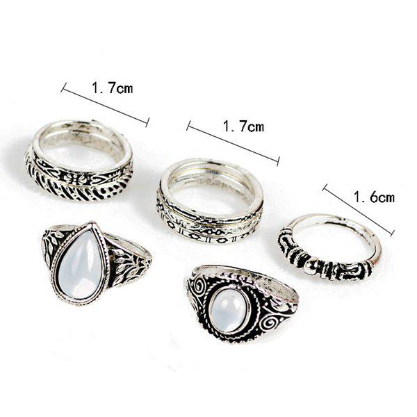 Gypsy Teardrop Circle Ring Set - Argent