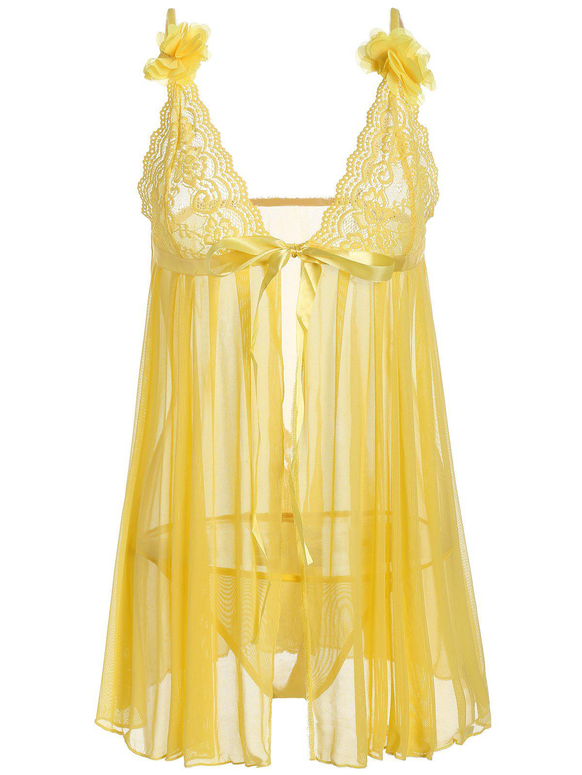 Mesh Lace Panel Sheer Slip Babydoll - YELLOW ONE SIZE