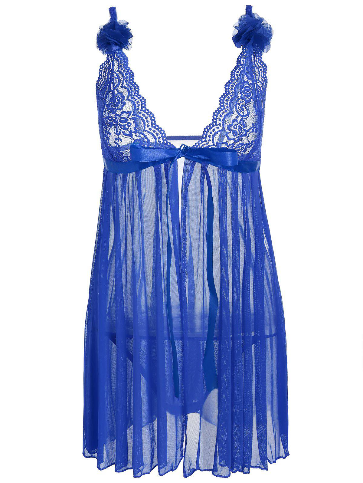 Mesh Lace Panel Sheer Slip Babydoll - BLUE ONE SIZE