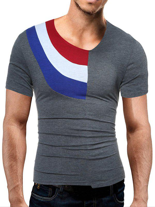 Color Block Panel Short Sleeve Novelty T-Shirts - GRAY L