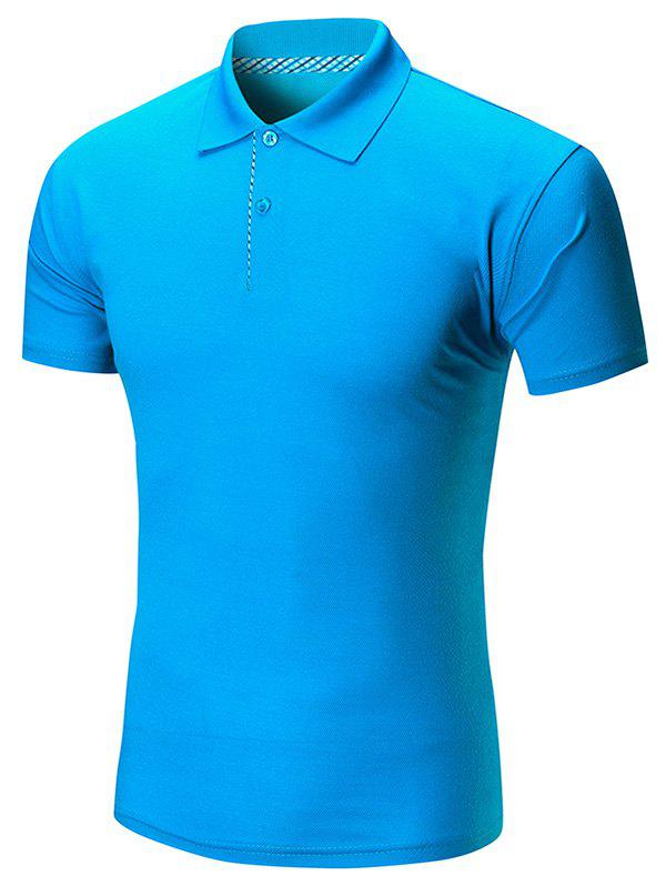 Short Sleeve Buttoned Plain Polo Shirt - BLUE XL