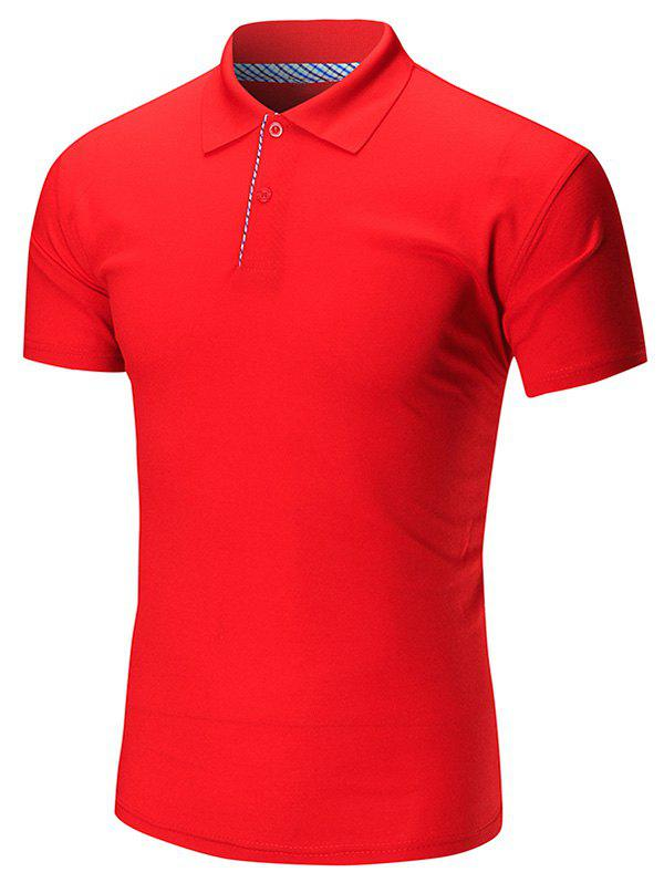 Short Sleeve Buttoned Plain Polo Shirt - RED 3XL