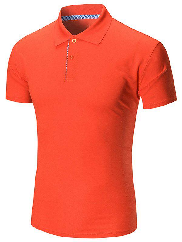 Short Sleeve Buttoned Plain Polo Shirt - JACINTH 2XL