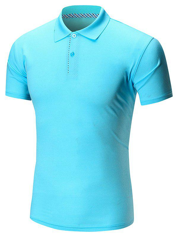 Short Sleeve Buttoned Plain Polo Shirt - LAKE BLUE 2XL