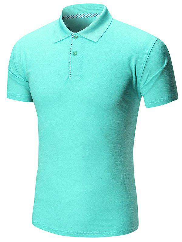 Short Sleeve Buttoned Plain Polo Shirt - LIGHT GREEN 3XL