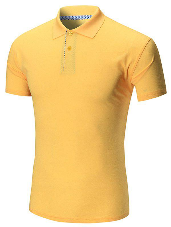 Short Sleeve Buttoned Plain Polo Shirt - YELLOW 3XL