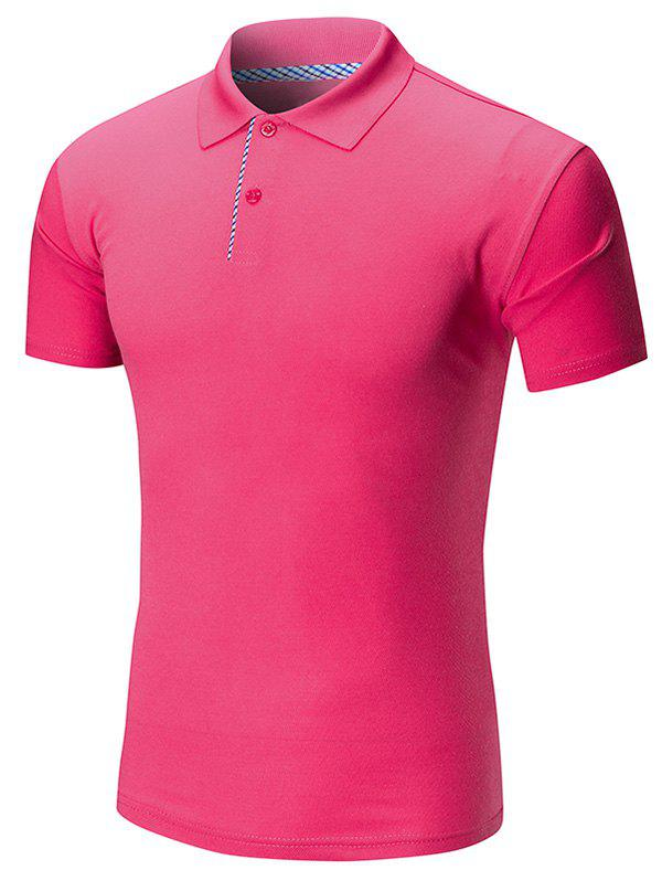 Short Sleeve Buttoned Plain Polo Shirt - TUTTI FRUTTI XL