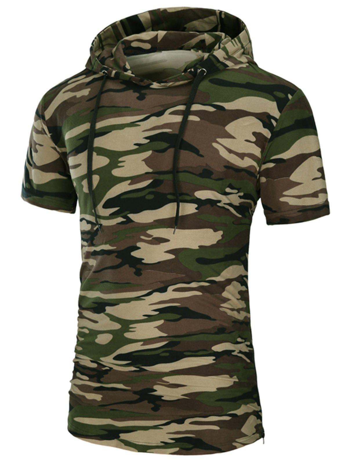 Hooded Side Zipper Longline T-Shirt - CAMOUFLAGE XL
