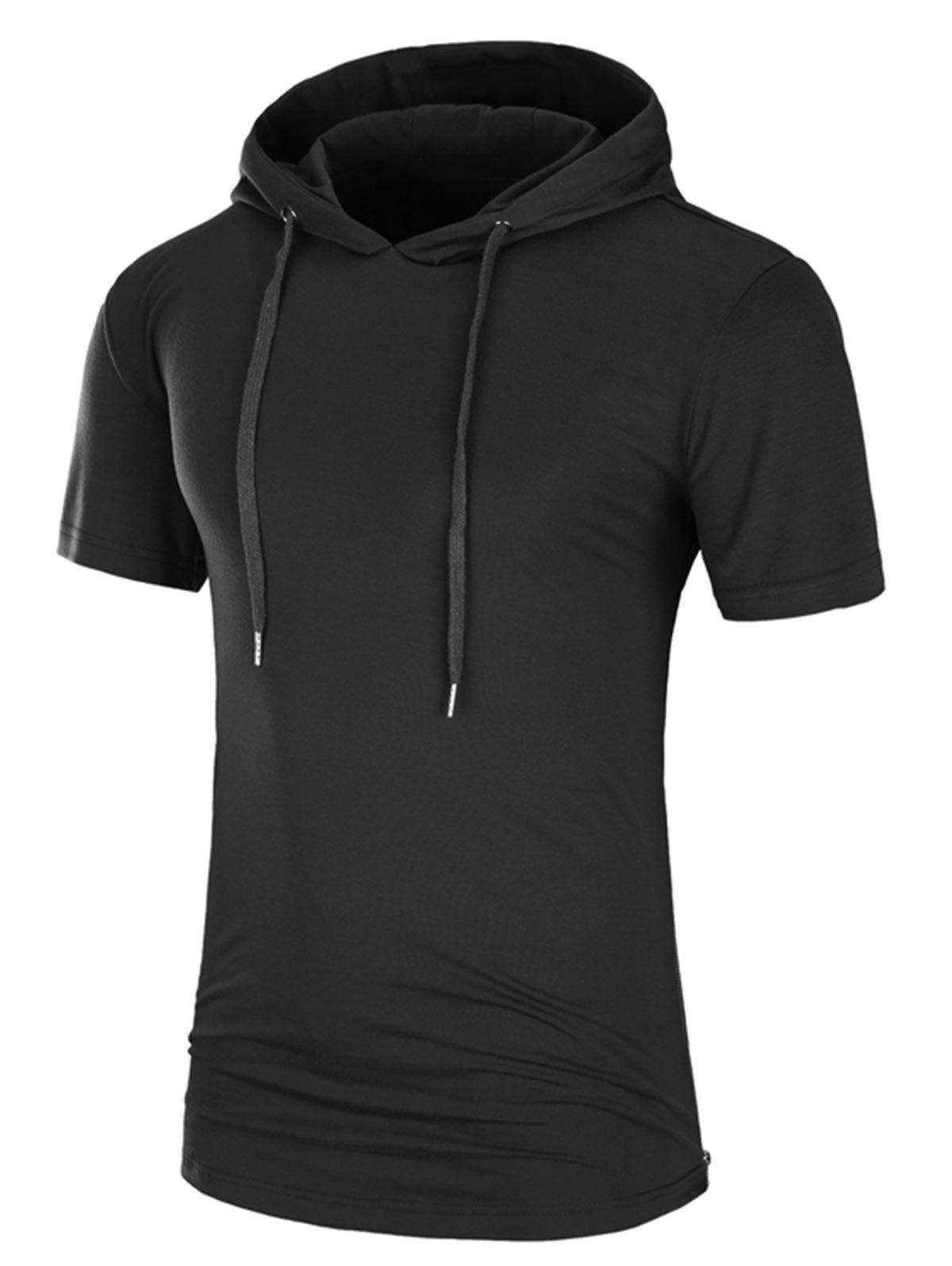 Hooded Side Zipper Longline T-Shirt - BLACK 2XL