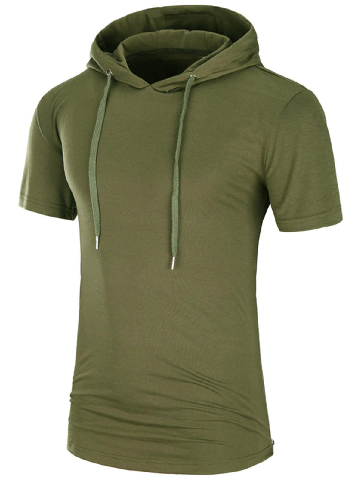 Hooded Side Zipper Longline T-Shirt - ARMY GREEN 2XL