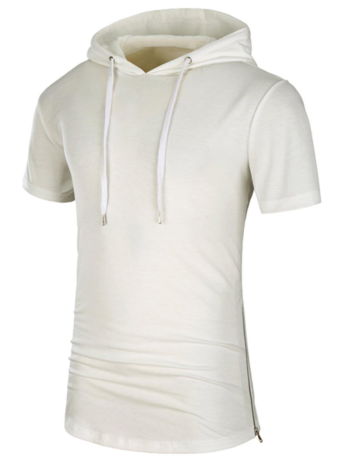Hooded Side Zipper Longline T-Shirt - WHITE L