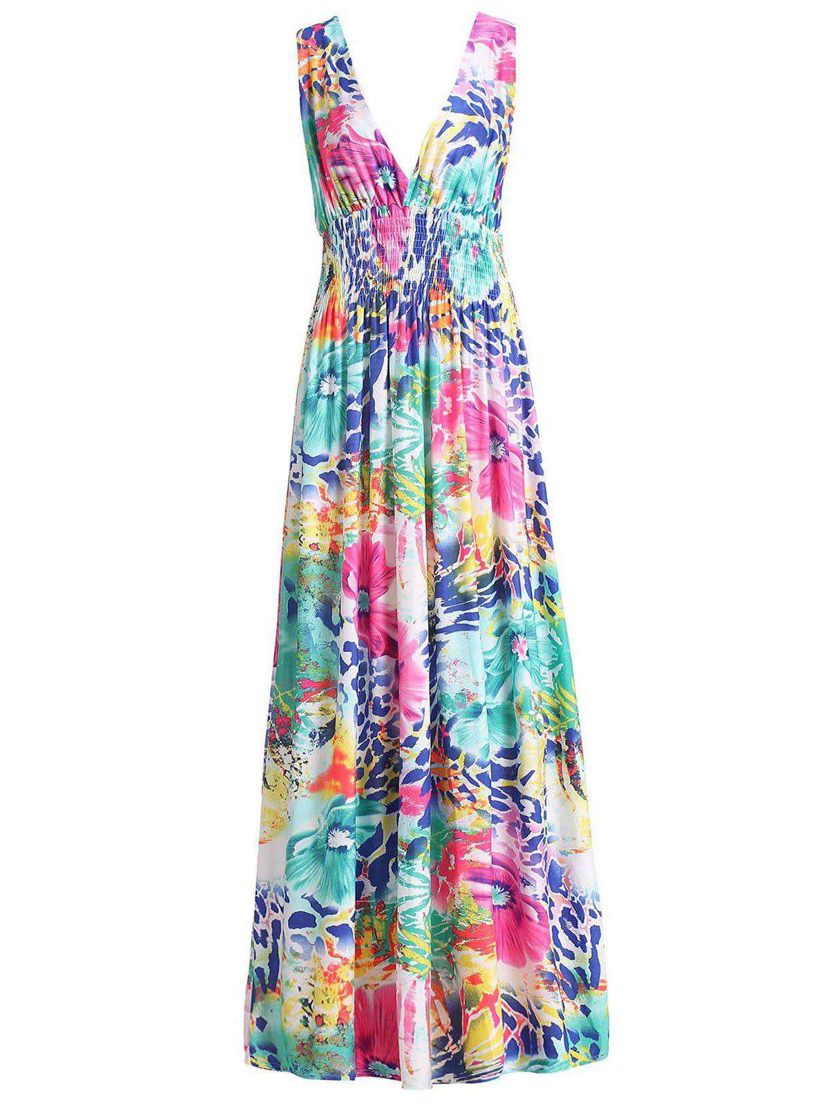 Sexy Colorful Floral Print Plunging Neck Sleeveless Dress - GREEN 2XL