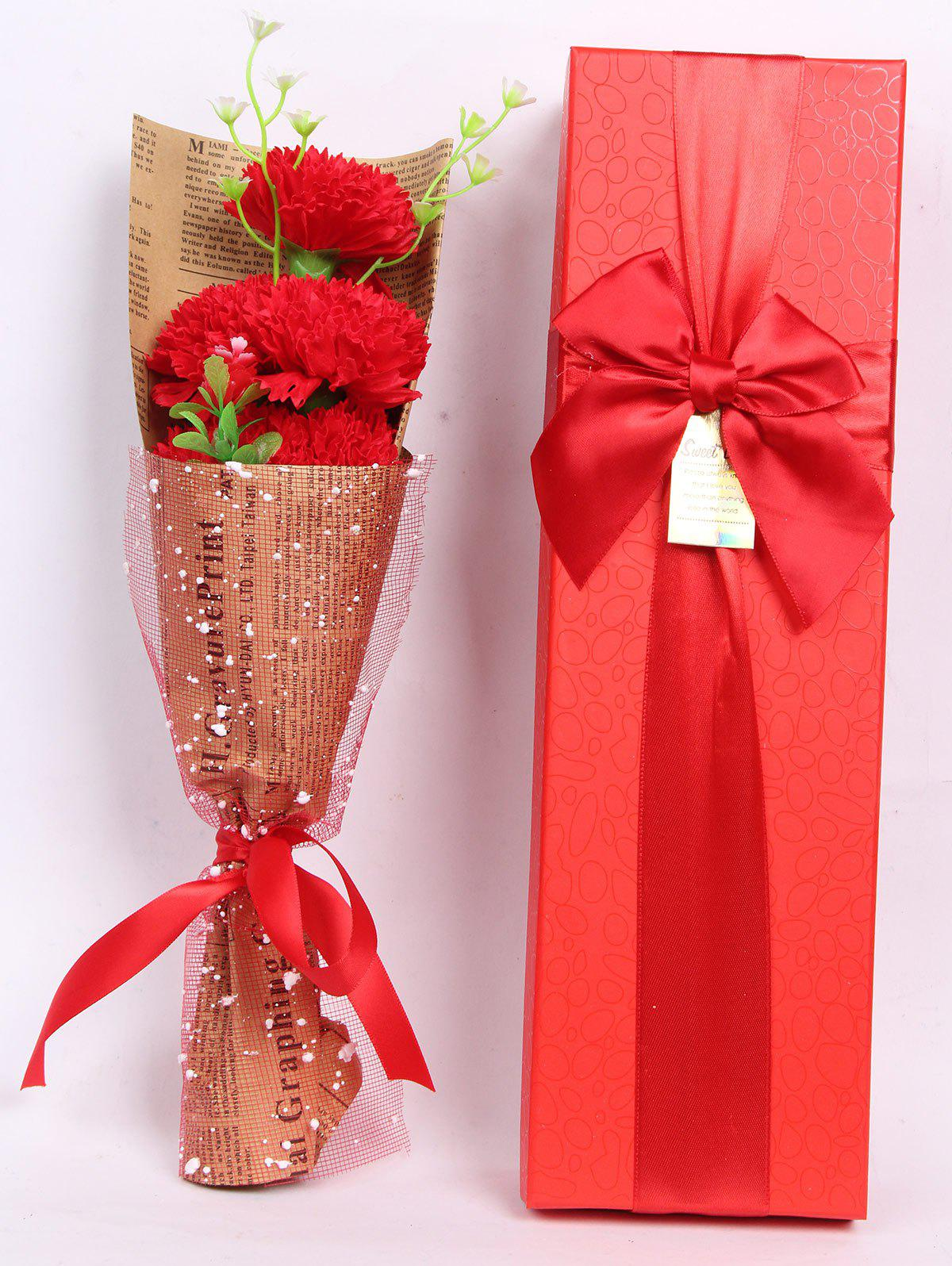 Creative Mother's Day Gift Soap Carnation 5PCS Artificial Flowers - BRIGHT RED