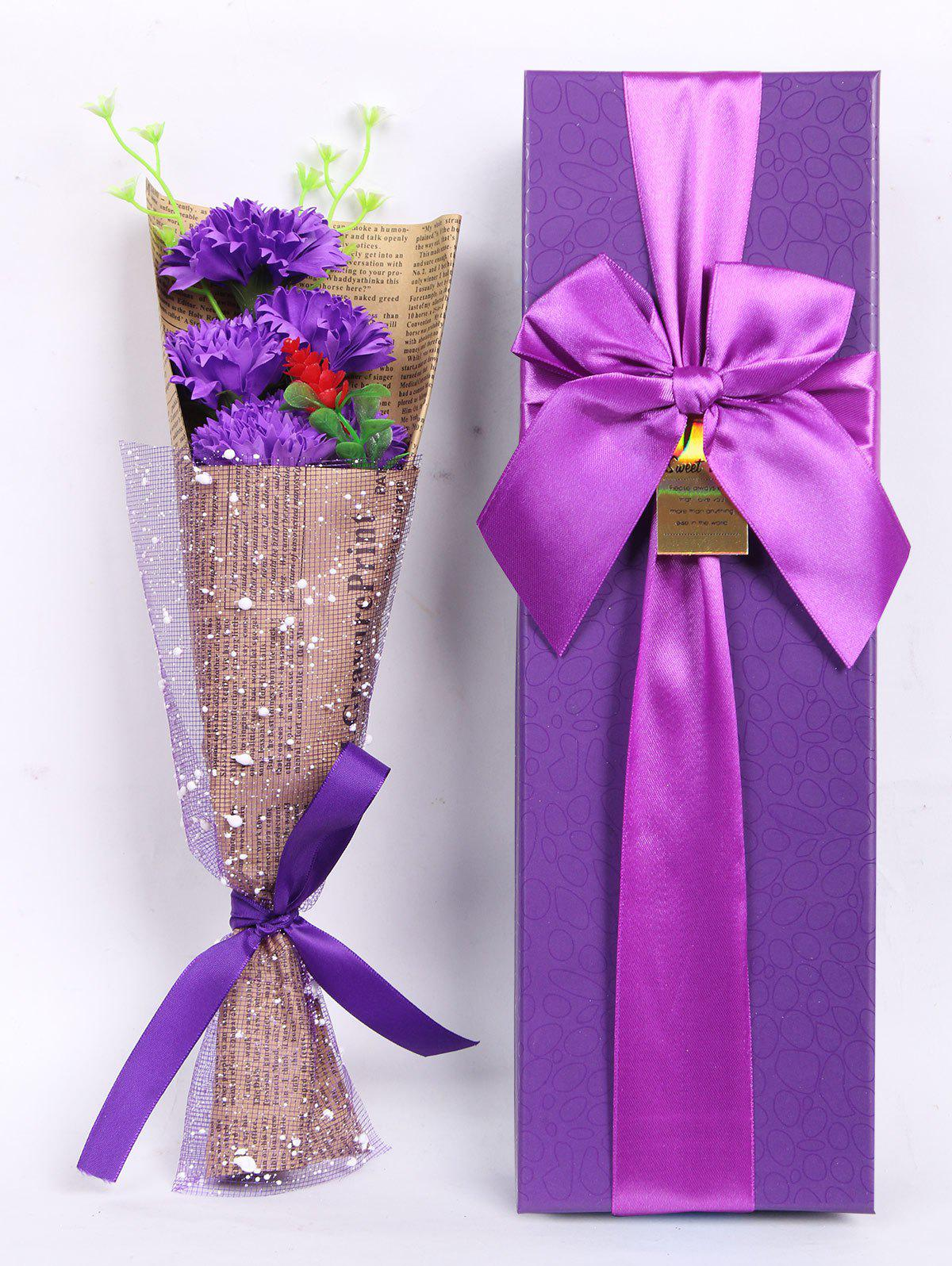 Creative Mother's Day Gift Soap Carnation 5PCS Artificial Flowers - PURPLE