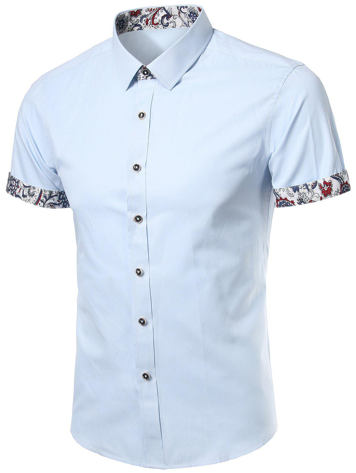 Floral Trim Short Sleeves Shirt - LIGHT BLUE XL