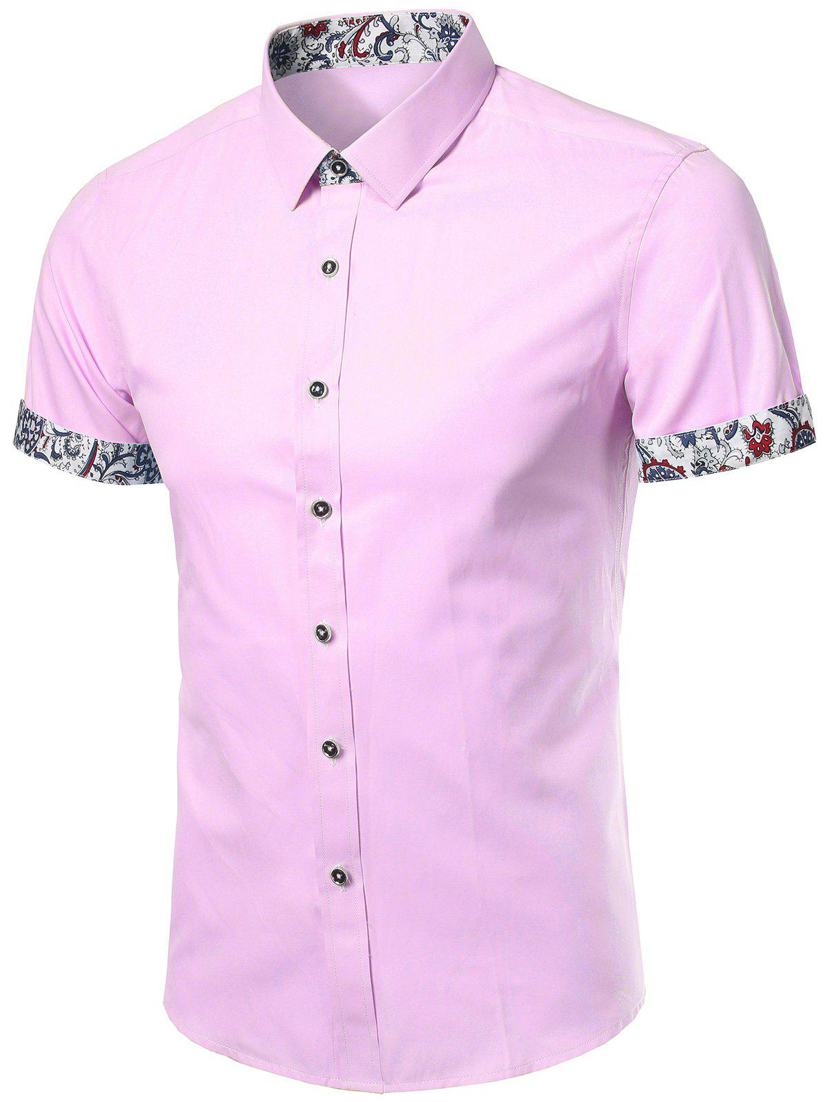 Floral Trim Short Sleeves Shirt - PINK XL