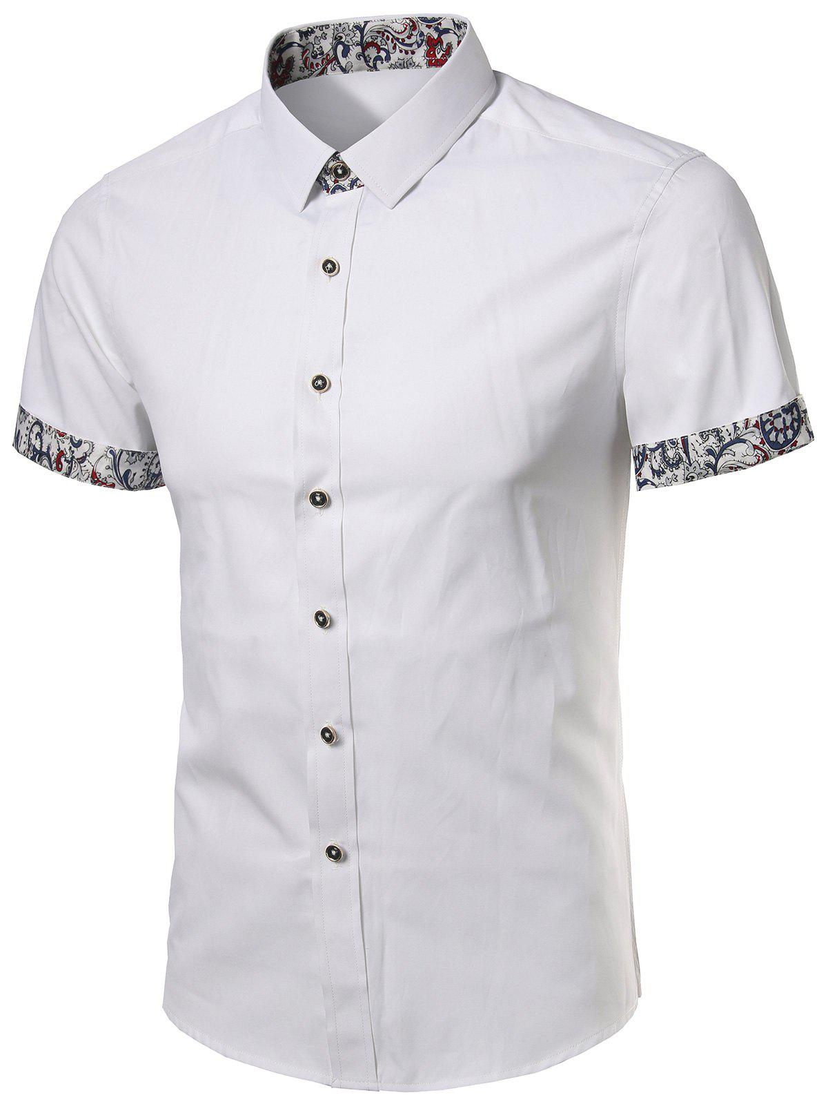 Floral Trim Short Sleeves Shirt - WHITE 2XL