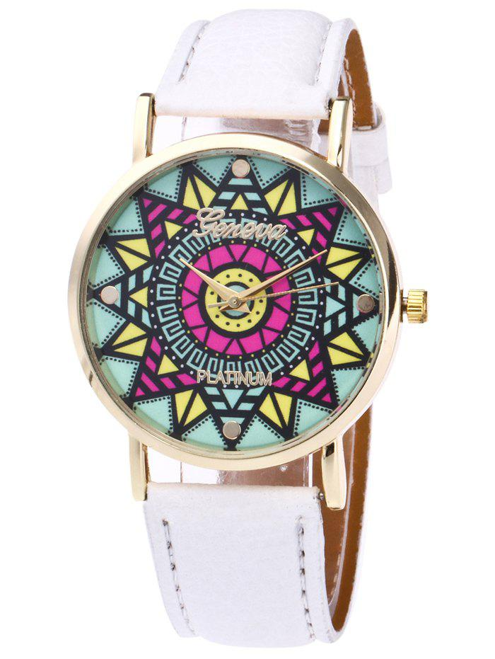 Faux Leather Madala Face Watch watermelon face faux leather watch