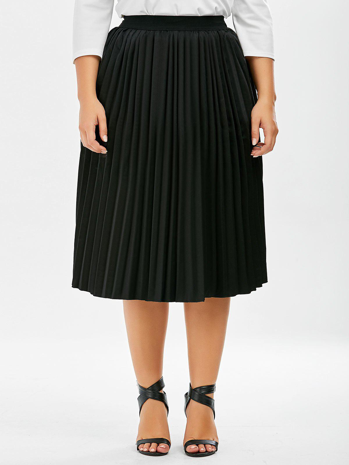plus size sparkly midi pleated skirt black 3xl in plus