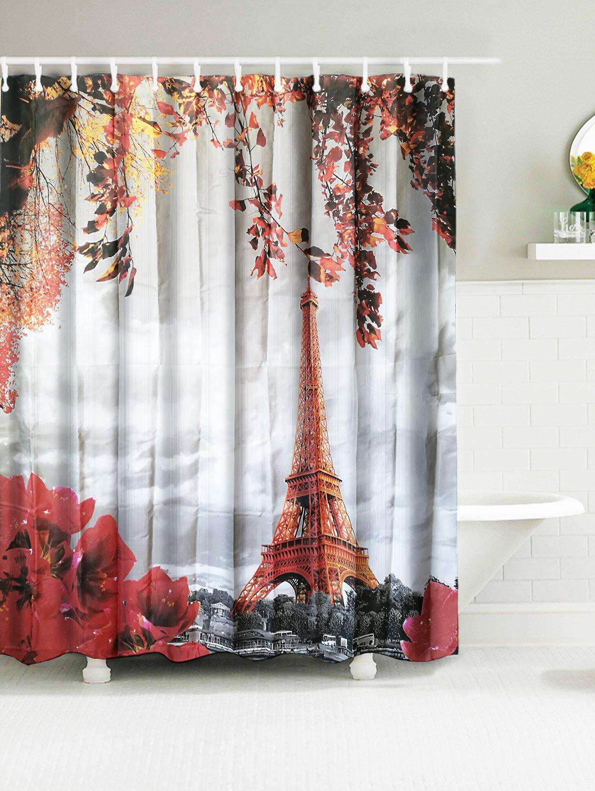 Eiffel Tower Water Resistant Fabric Shower Curtain flower butterfly mantis water resistant shower curtain