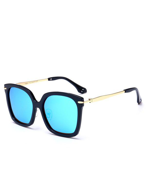 Mirrored Butterfly Sunglasses with Metal Leg - BLACK FRAME / BLUE
