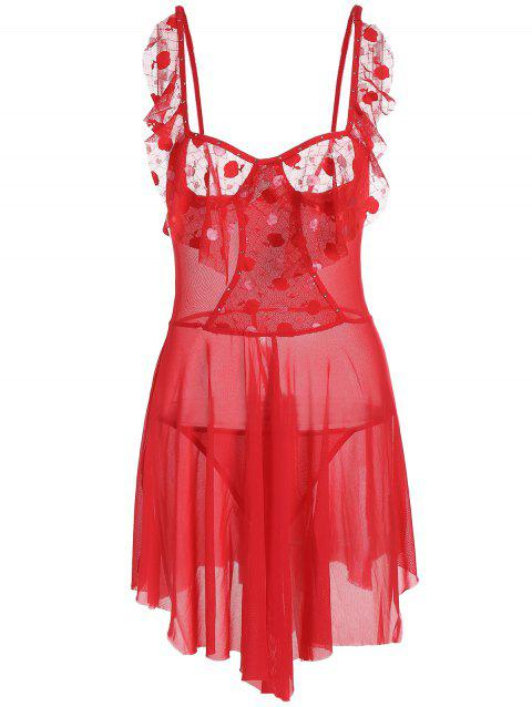 Mesh See Thru Flounce Slip Babydoll - Rouge ONE SIZE