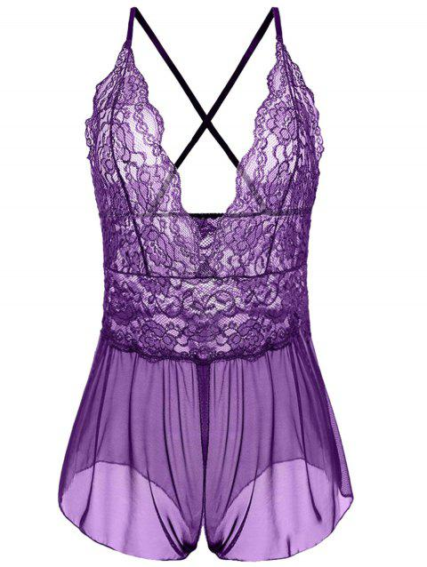 Plunging Neck See Through Plus Size Babydoll - PURPLE 3XL