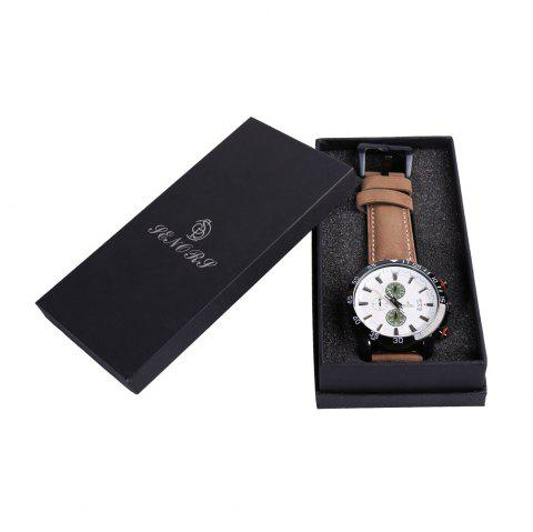 Faux Leather Strap Number Date Quartz Watch - BLACKISH GREEN