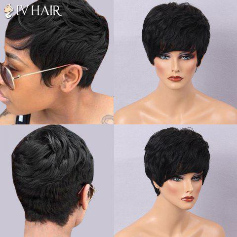 Siv Hair Ultra Short Layered Side Bang Curly Human Hair Wig - JET BLACK 01