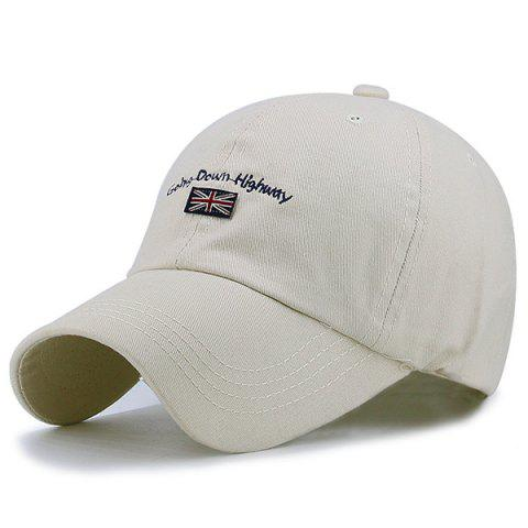 Flag Letter Embroidered Baseball Hat - LIGHT KHAKI