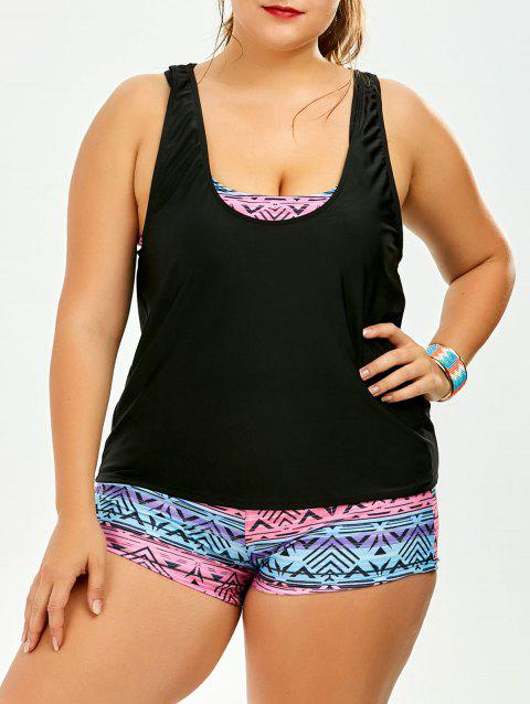 Strappy Print Padded Plus Size Bathing Suit - COLORMIX XL