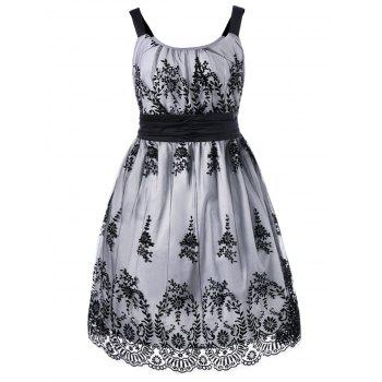 Plus Size High Waist Ball Gown Dress - WHITE AND BLACK 2XL
