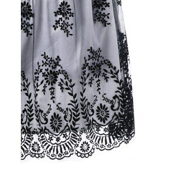 Plus Size High Waist Mini Ball Gown Dress - WHITE/BLACK WHITE/BLACK