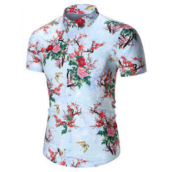 Chinese Style Floral Printed Shirt