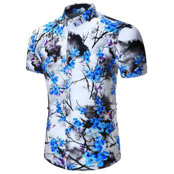 Chinese Painting Print Short Sleeve Shirt