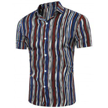 Short Sleeve Color Block Stripe Breathable Shirt