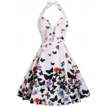 Halter Butterfly Print A Line Dress