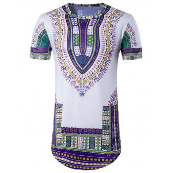 Colorful Tribal Print Longline T-Shirt