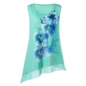 Plus Size Chiffon Panel Floral Printed Tank Top
