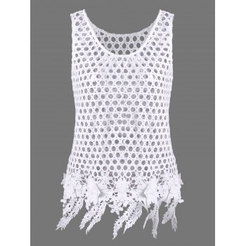 FFlower Applique See Through Openwork Tank Top