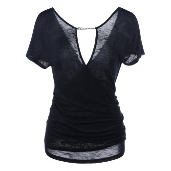 Chain Embellished Ruched Dee V Neck T-Shirt