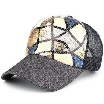 Mesh Sequin Spliced Baseball Hat