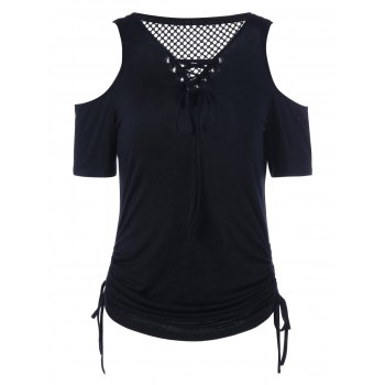 Cold Shoulder Openwork Lace Up T-Shirt