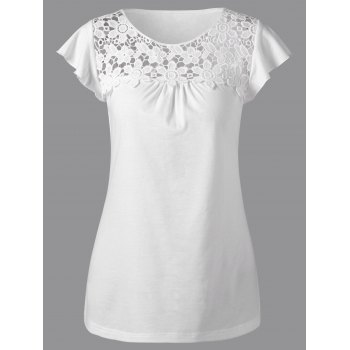 Lace Insert Cutwork T-Shirt