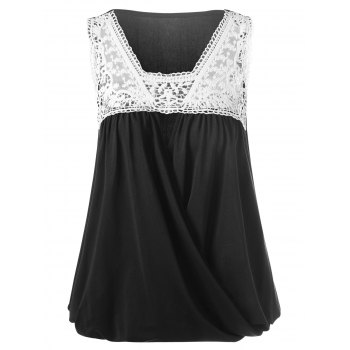 Buy Lace Trim Crossover Tank Top WHITE/BLACK